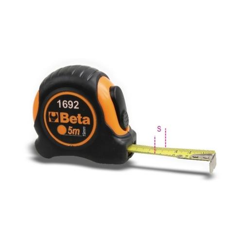 BETA 1692/2 mérőszalag, ütésálló bimateriál abs-ház, acélszalag, pontossági osztály: ii