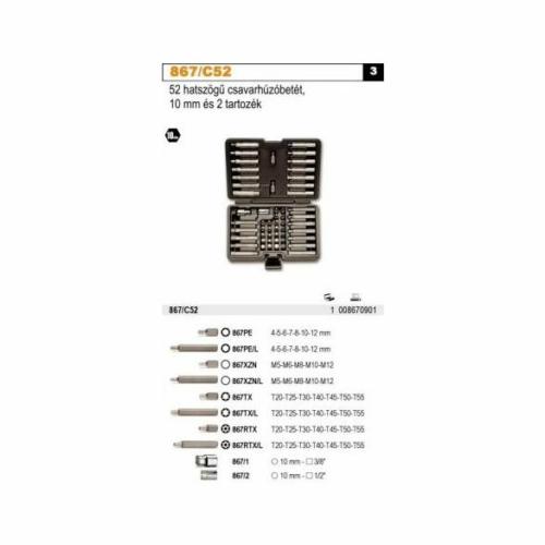 BETA 867/c52 52 hatszögű csavarhúzóbetét 10 mm és 2 tartozék